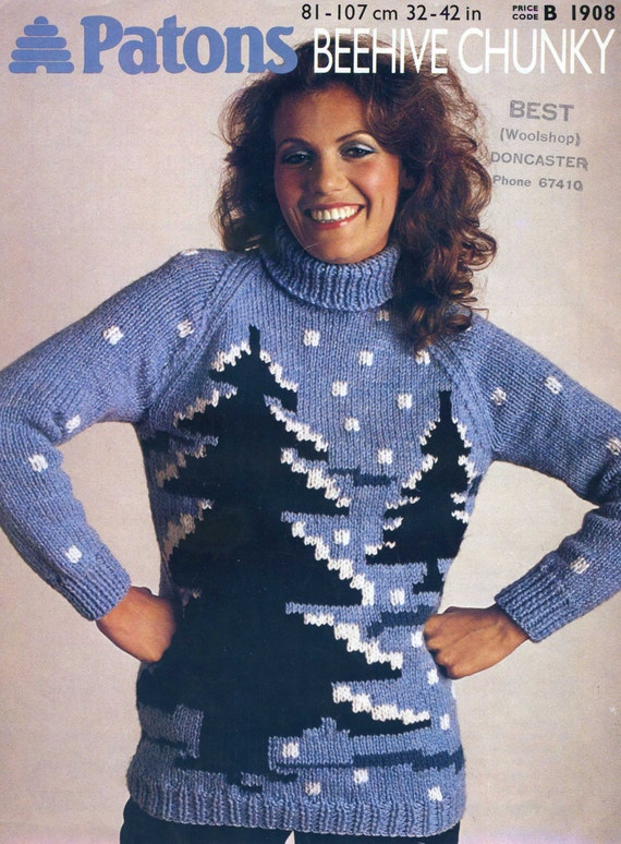 Knitting Patterns For Novelty Christmas Jumpers : Vintage Christmas jumper knitting pattern novelty PDF instant
