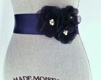 Navy Blue Bridal Sash, Blue Wedding Sash, Navy Wedding Belt - Navy Blue Chiffon Flowers