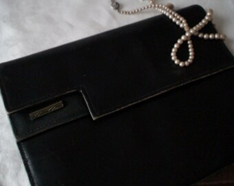 Vintage Black Leather Clutch, Art Deco Styling, Fabric Lining, Two Sections, Snap Closure, Leather Strap