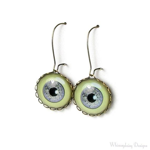 Creepy Zombie Eyeball Earrings, Gothic Antique Brass, Steampunk, Halloween Geekery Glass Eye Jewelry, Evil Eye Earrings, Fun Gifts for Teens