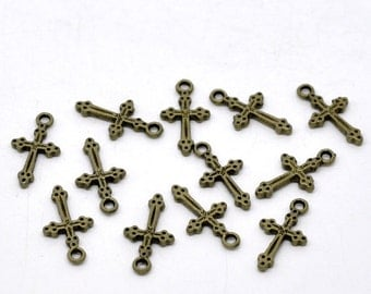 Antique Bronze Cross Charms / Brass Ox Religious Charms [Choose 1 piece or 10 pieces] -- Lead, Nickel & Cadmium free 9080.J3C