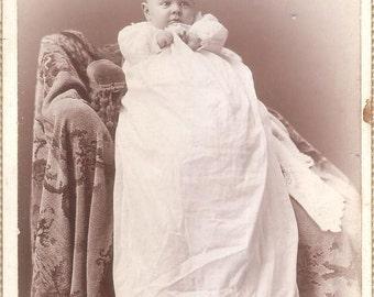 Original Victorian Pretty Baby Photo 1890s Cabinet Card 4x6 Sepia-toned