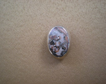 Now on Sale, Sterling Silver and Agate Slide for a Necklace