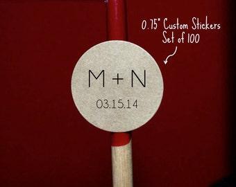 """Mini Wedding Initials100 - CUSTOM TEXT- Mini Circle Seals - Stickers KRAFT or White - 0.75"""" - W"""