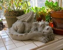 Dragon Statue, Concrete Dragons, Medieval Monster, Large Cement Dragon, Garden Decor, Petes Dragon, Gothic Statue, Concrete Garden Statue
