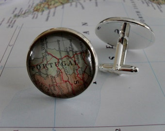 PORTUGAL Map  CUFFLINKS / Portugal Cuff Links / Custom Map Cufflinks / Father's Day / Groomsmen Gift / Unique Gift for Him / Gift Boxed