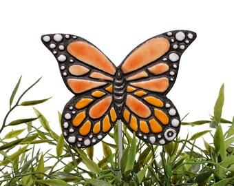 butterfly garden art - plant stake - garden decor - butterfly ornament  - ceramic butterfly - monarch - orange