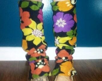 Retro Flowers Leg Warmers / Thigh Highs Fleece
