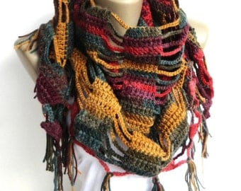 Rainbow Crochet Scarf women scarf Shawl  women scarves ,crocheted shawl scarf Holiday Fashion Winter Scarf Women Fashion Accessories