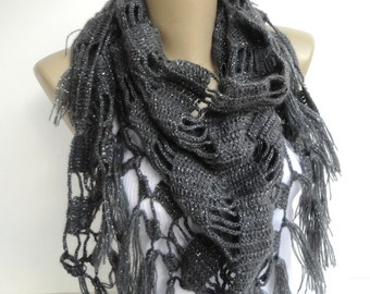 gray Crochet Shawl // Crochet Scarf // Winter Scarf // Gifts For Her // Womens Clothing // Shawl Wrap // Shawl Scarf /// senoaccessory