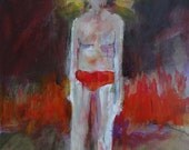 Colorful Painting of a Boy titled A Reluctant Saint - Original Acrylic Painting - Framed Artwork - Figurative Art Painting - 16x24 Gay Art