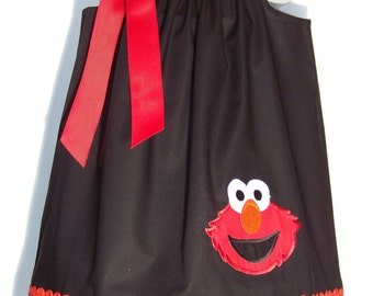 Elmo Pillowcase Dress / Sesame Street / Character / Houndstooth / Newborn / Infant / Baby / Girl / Toddler / Custom Boutique Clothing