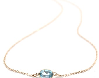 14k Solid Gold Blue Topaz Solitaire Necklace - Small Gemstone Necklace  - Bridesmaids Jewelry -