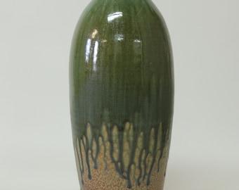 Greenwood Forest in Green Hickory Wood Ash --- John Tiller Studio Vase -- Door Pottery -- Handmade Art Pottery