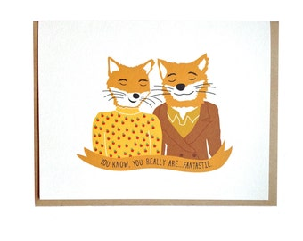 Fantastic Mr Fox, Wes Anderson card, Anniversay, Birthday, Love, greeting card