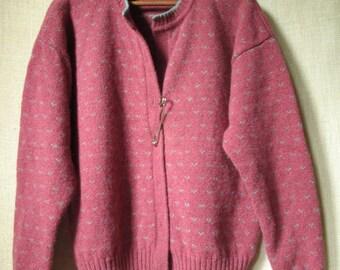 Oversized Cardigan Sweater mori girl wool cardi dusty rose pink chunky sweater large kilt pin turquoise large safety pin vintage 80s 90s