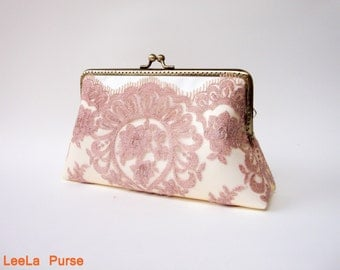 Victorian pink rose gold wedding Lace Clutch with wristlet chains / Vintage inspired / wedding bag / bridesmaid clutch / Bridal clutch