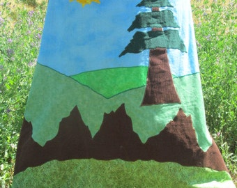 Mountain scene batik Patchwork hippie style skirt