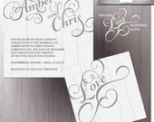 Grey Winter Wedding Invitation - Winter Love Bridal Invitation - Bridal - Wedding Invite - Printed Wedding Invitations