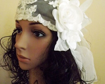 Juliet Cap Wedding Headpiece Ivory Chantilly Lace, Gatsby, Boho. 1920's Style Wedding Cap