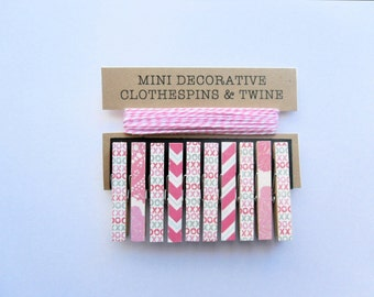 Mini Clothespins with Pink Twine. Wall Decor. Valentine Themed. Card Holder. Photo Clothesline. Holiday Decor. Valentine Decor. Home Decor