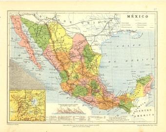 Antique Map Mexico 1912