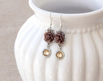 Rose Earrings, Bohemian Style Filigree Earrings, Simple Rose Jewelry, Country Girl Gift Under 30, Gift For Mother, Simple Brown Fall Jewelry