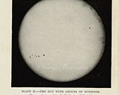 1912 The Sun with a Group of Sun Spots II original antique comets celestial astronomy print