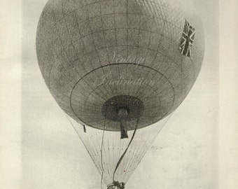 1920 Hot Air Balloon vintage antique lithograph bookplate, original flying print
