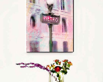 Paris Wall Art Pink, Paris Metro Sign, Paris Pink Canvas Wall Art, Paris Metro Sign Canvas, Watercolor Pink Paris Decor