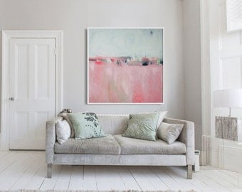 "Abstract painting print, GICLEE PRINT, pink and white painting, Landscape print ""Pink Landscape"""