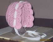 Vintage Inspired Bonnet, Pink Bonnet, Baby Girl Bonnet, Pink Crochet Hat, Baby Hat with Lace Ribbon, 0 to 3 months, Newborn