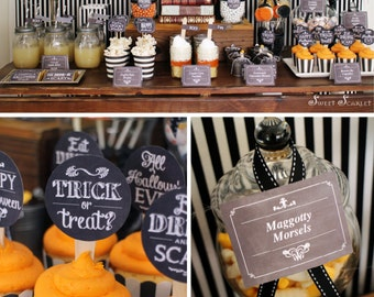 HALLOWEEN Chalkboard Printable Set - Eat, Drink and Be Scary, cupcake toppers, favor tags, party signs, bag toppers
