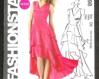 McCall's 6698 Dress With Close Fitting Bodice, Flounces And A Shaped Waterfall Hemline, Sizes 12,14,16,18,20 UNCUT