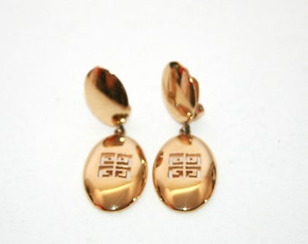 Givenchy - Gold  Dangle - VINTAGE Logo G Earrings - Clip On