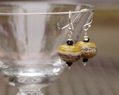 Yellow Lampwork Glass Earrings - Yellow Glass Earrings - Mustard Yellow Earrings - Yellow Dangle Earrings - Yellow Lampwork Earrings