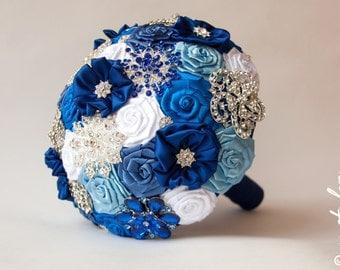 SALE!!! Brooch Bouquet, Blue - White Fabric Bouquet, Unique Wedding Bridal Bouquet