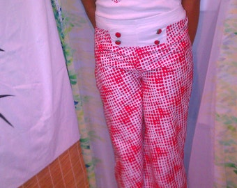 Custom Vintage red and white high waisted teen/ girl pants.. 12-16 xs sm