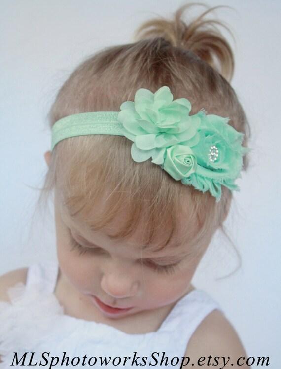 Menta fresca verde bebé niña diadema , Pastel menta verde, flor, Shabby Chic diadema