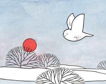 Snowy Owl Drawing Print - Red Sun Winter Illustration