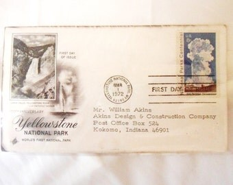 Old Faithful Yellowstone Park Centennial Stamp with Letter and Matching Old Faithful Envelope