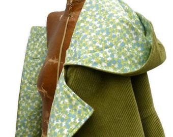 Vegan Womens Swing Coat in Corduroy Wool or Tweed Optional Hood Fully Lined Jacket for Warm Winter Outerwear