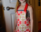 SALE Patchy Hearts Valentine's Day Girls Apron, red beige white geometric patchwork fabric Upcycled pockets art, for age 4 to 8