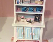 Miniature Rose Garden Charming (yet Fully Loaded with Fun Accessories) Romantic Shabby Chic Kitchen Hutch, Scale One Inch