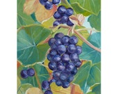 Kitchen Wall Decor Grapes Oil Panel Painting 7x5 Hand Painted Art by Janet Zeh