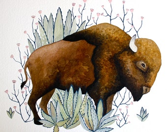 Watercolor Buffalo Painting, Bison Art, Giclee Print, Archival Print - Little Bison Leif