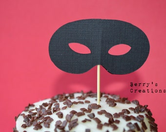 Black Mask Cupcake Toppers. 20 pieces