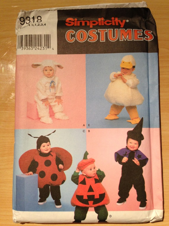 Simplicity Sewing Pattern 9318 Toddler Costume Lamb, Duck, Lady Bug, Pumpkin, and Witch Size 1/2 - 4 Uncut