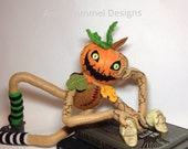 Pumpkin doll handmade in felt, halloween decoration, creepy pumpkin soft sculpture, shelf sitter, scary pumkin plush halloween decor