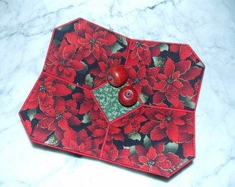 Christmas Bowl, Poinsettia, Fabric Bowl, Retro, Art Deco, Red, Green